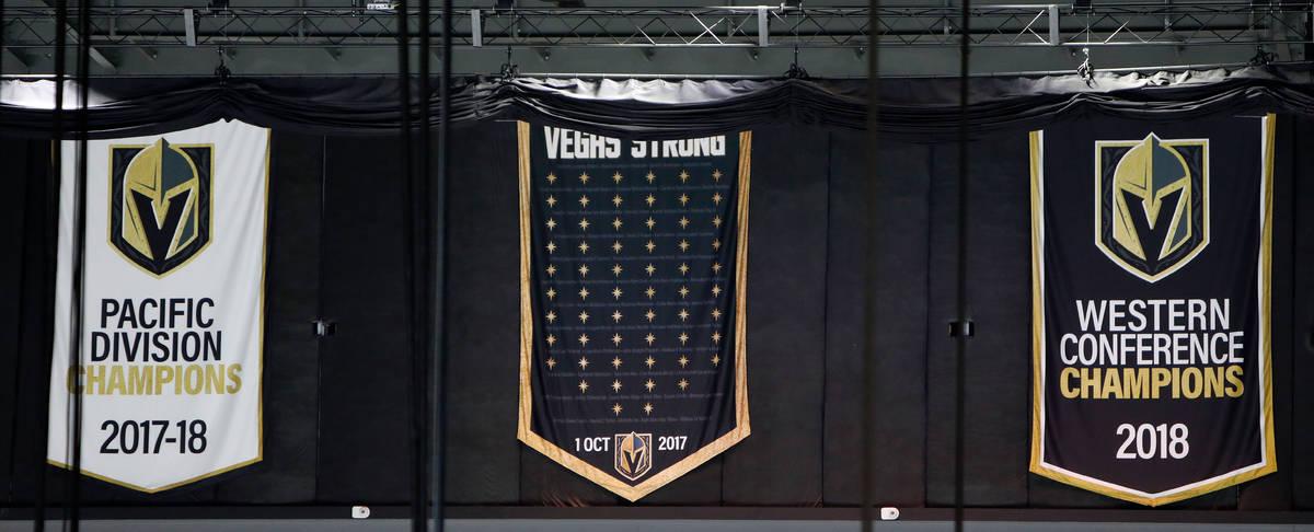 The ÒVegas StrongÓ banner, center, is seen at T-Mobile Arena in Las Vegas, Thursday, ...