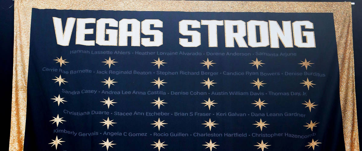 """The """"Vegas Strong"""" banner is seen at T-Mobile Arena in Las Vegas, Thursday, March 4, 2021. ..."""