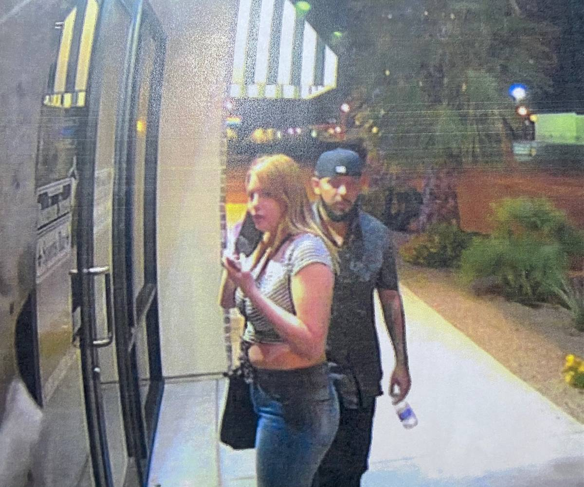An evidence photo shows Erick Rangel-Ibarra and Lesly Palacio outside the Bourbon Street Bar at ...