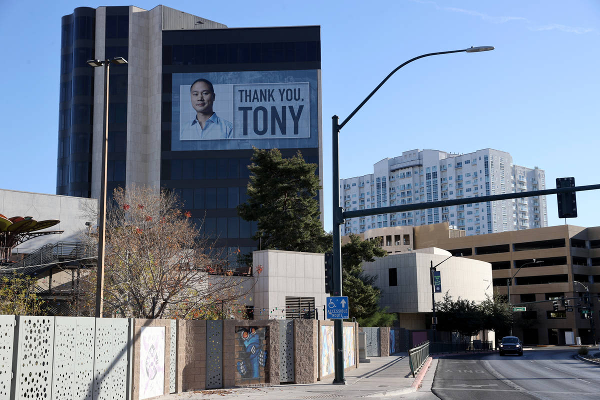 One of two building wraps on Zappos headquarters in downtown Las Vegas Tuesday, Jan. 5, 2021, h ...