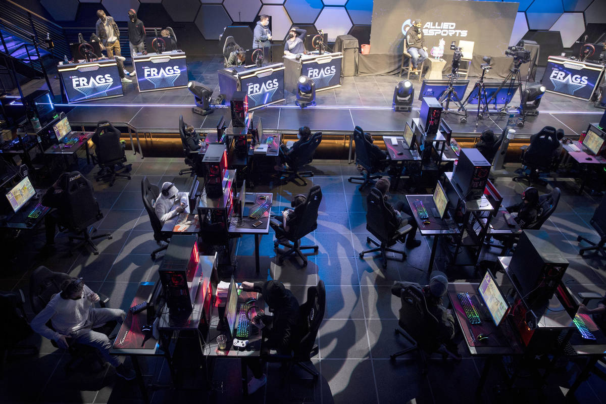 """Players get ready for the Fortnite tournament """"Friday Night Frags"""" at the HyperX Espo ..."""