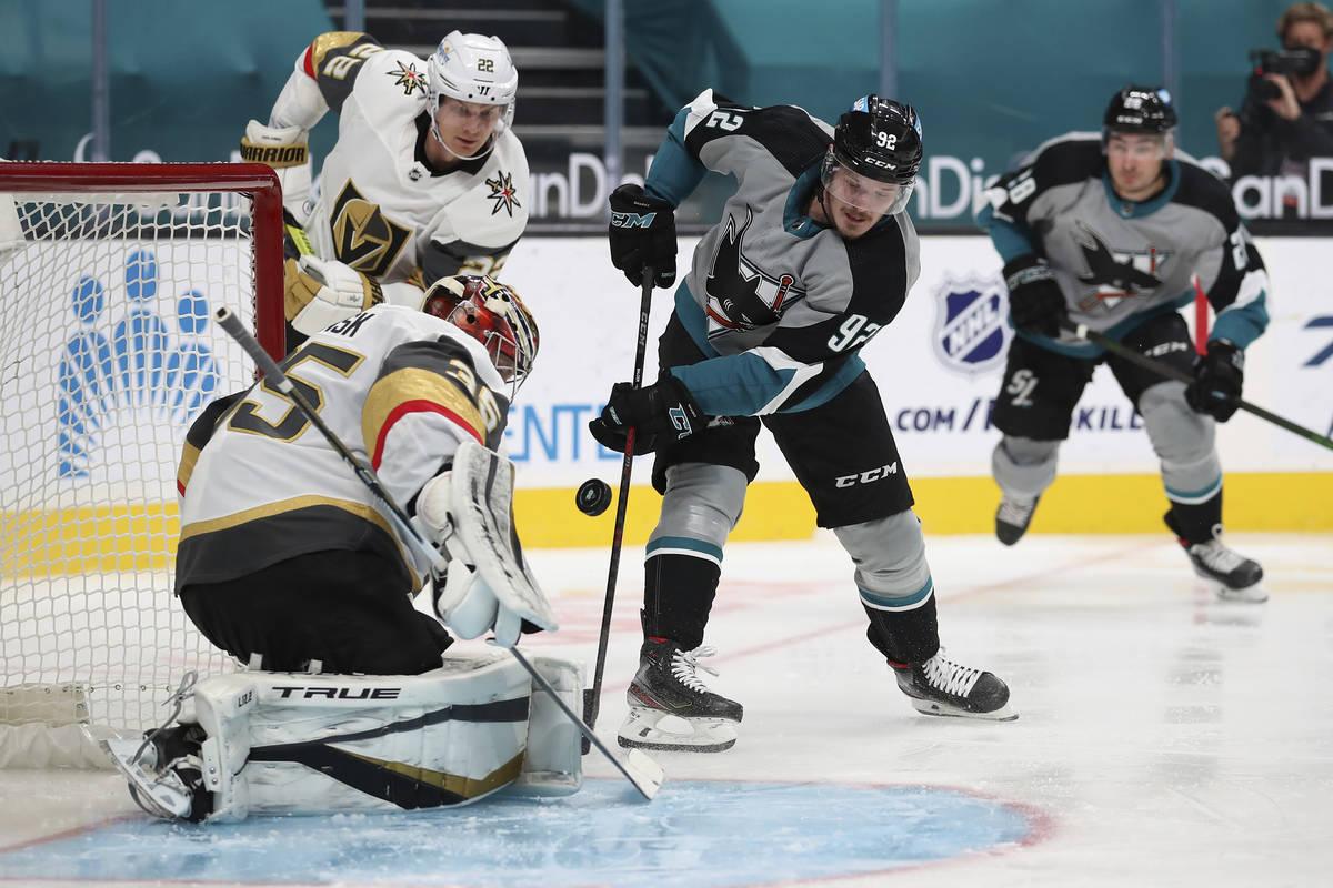 Vegas Golden Knights goaltender Oscar Dansk (35) makes a save against San Jose Sharks left wing ...