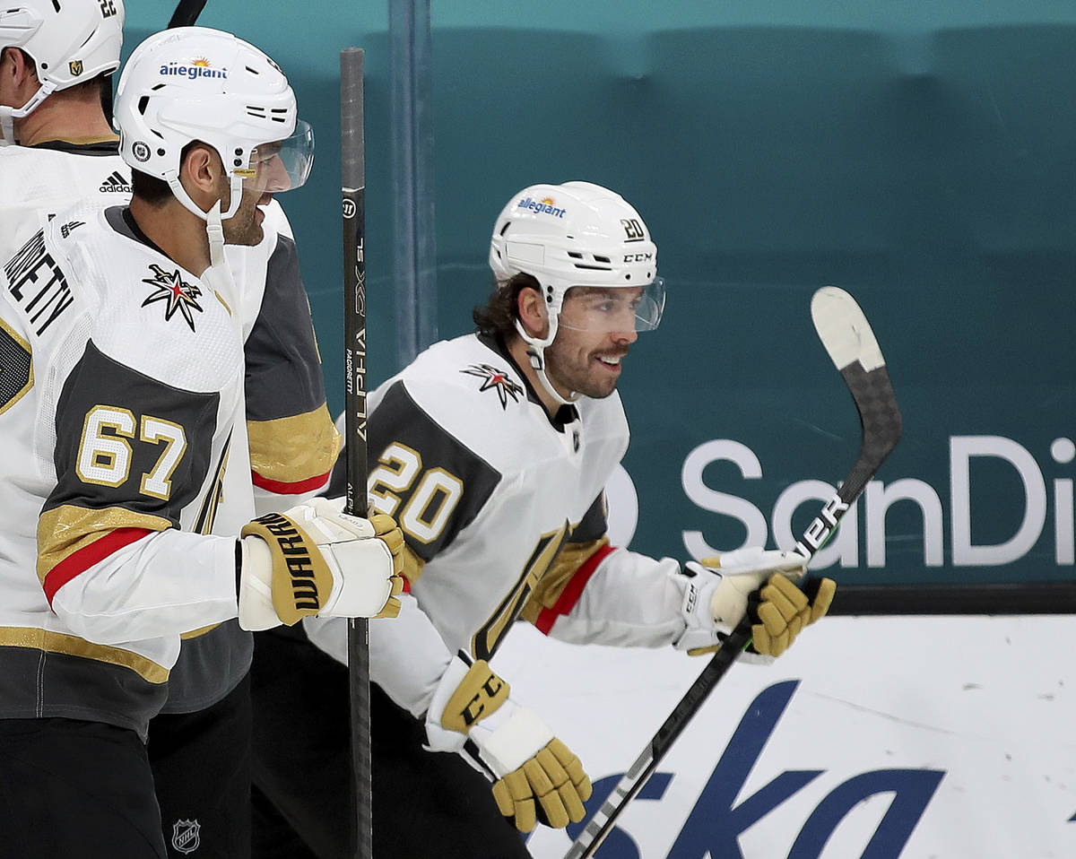 Vegas Golden Knights left wing Max Pacioretty (67) celebrates with center Chandler Stephenson ( ...