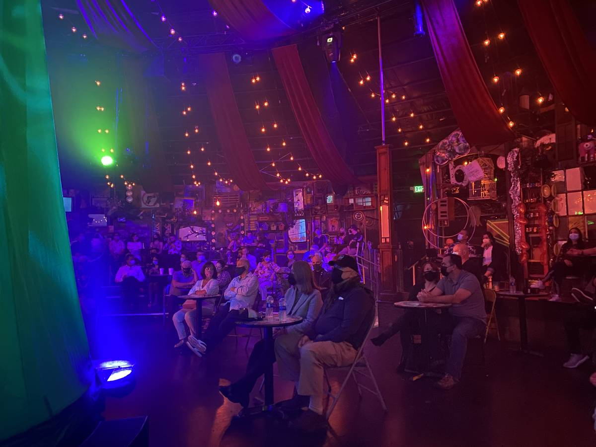 """A shot of the 150-capacity crowd at the Spiegeltent for the return of """"Absinthe"""" at Caesars Pal ..."""