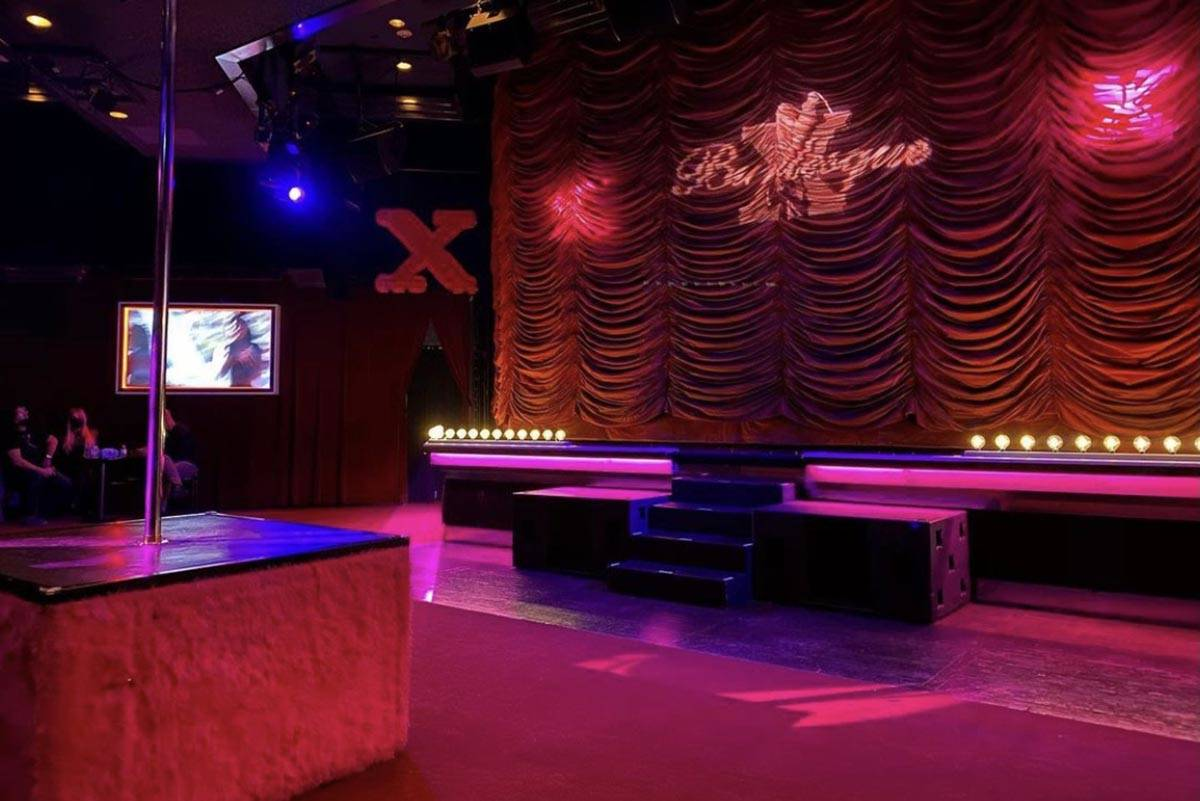 """The socially distant stage for """"X Burlesque"""" at Flamingo is shown on Thursday, Jan. 9, 2021. (S ..."""