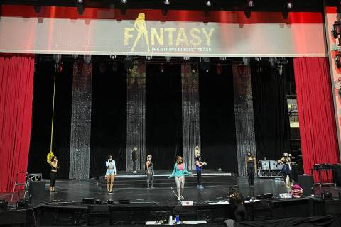 "A look at a rehearsal of ""Fantasy"" at Luxor Theater on Nov. 3, 2020 (John Katsilometes/Las Vega ..."