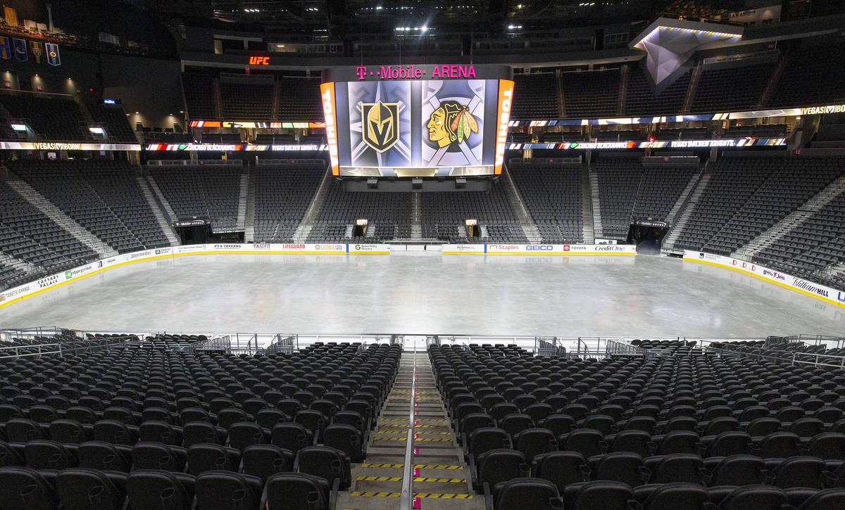 T-Mobile Arena is empty on Sunday, Aug. 16, 2020, in Las Vegas. (Ellen Schmidt/Las Vegas Review ...