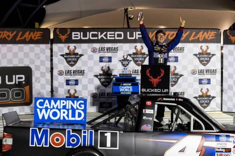 John Nemechek celebrates after winning the NASCAR Trucks auto race at Las Vegas Motor Speedway ...