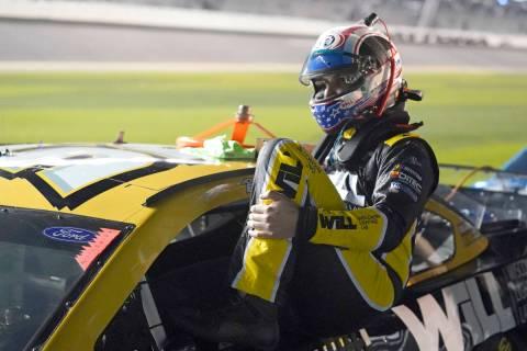 Josh Bilicki gets ready for NASCAR Daytona 500 auto race qualifying at Daytona International Sp ...