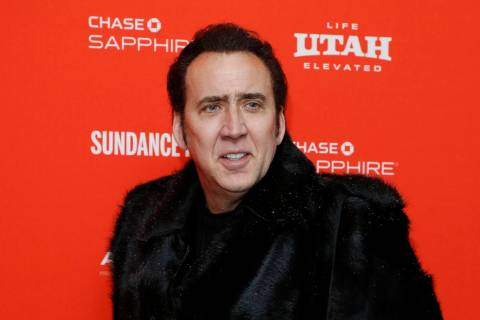 "Actor Nicolas Cage poses Jan. 19, 2018, at the premiere of ""Mandy"" during the 2018 Sundance Fil ..."