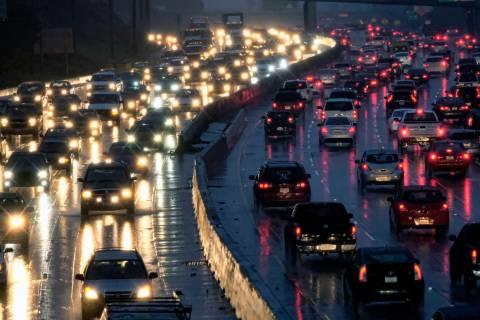Traffic crawls along the Hollywood Freeway toward downtown Los Angeles in 2017. (AP Photo/Richa ...