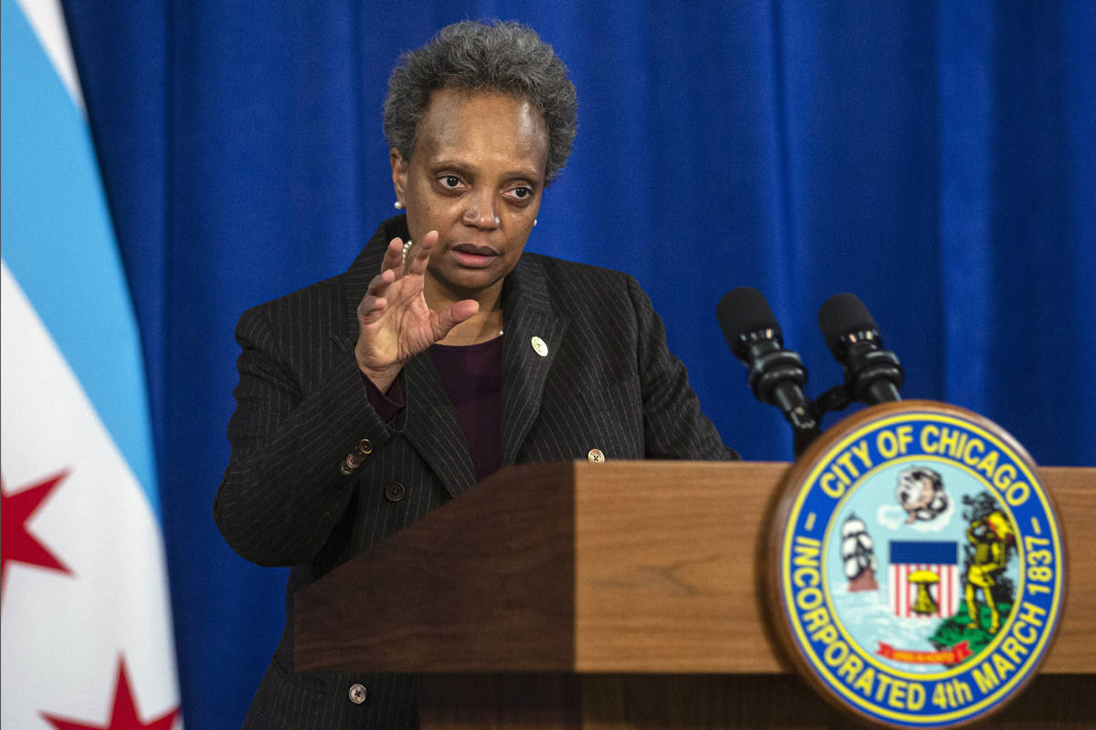 In this Dec. 17, 2020, file photo, Chicago Mayor Lori Lightfoot speaks during a news conference ...