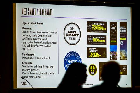 An information slide is seen on the screen during an LVCVA meeting within the Las Vegas Convent ...
