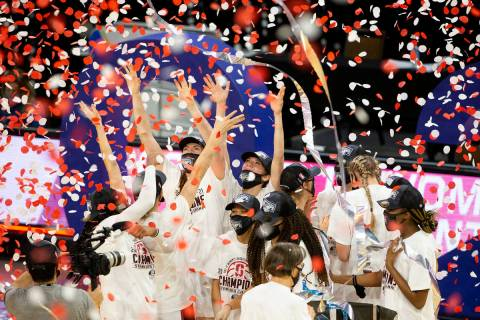 The Stanford Cardinal celebrate after winning the championship NCAA college basketball game at ...