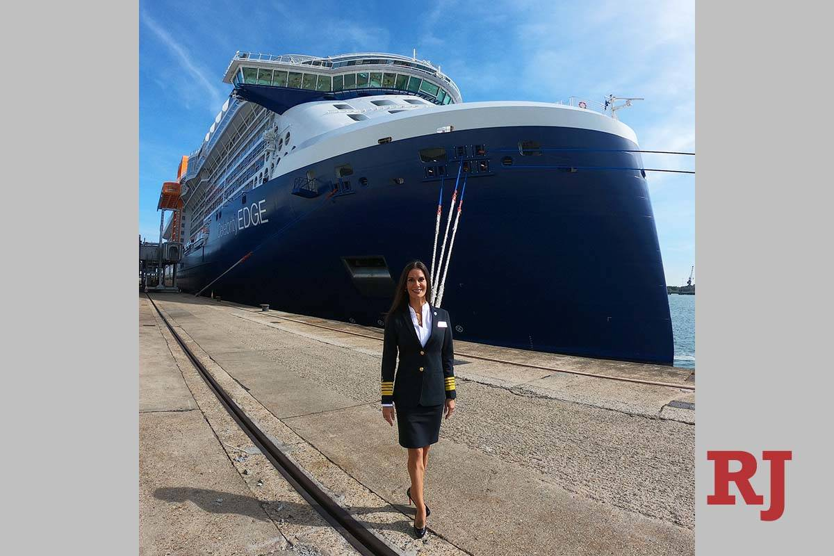 Capt. Kate McCue stands in front of the Celebrity Edge. (Kate McCue)