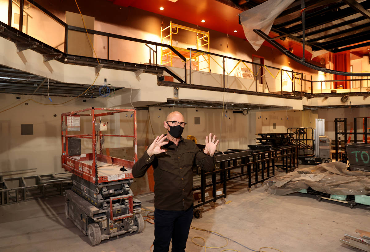 Production Manager Don Gilmore shows the Magic Mike Live Theater under construction at Sahara L ...