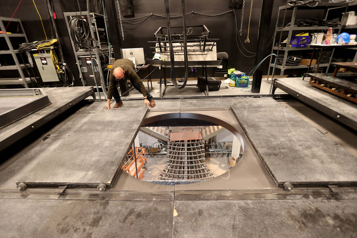 Production Manager Don Gilmore shows the aerialist trap door at the under construction Magic Mi ...
