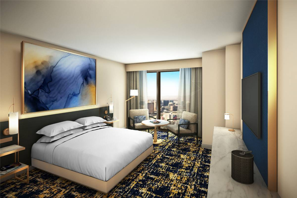 A rendering of a Hilton guest room at Resorts World. (Courtesy Resorts World)