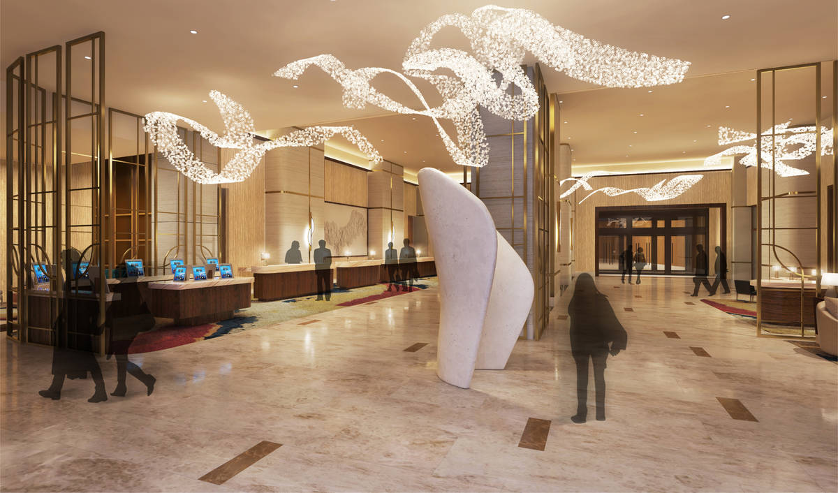 A rendering of the Hilton lobby at Resorts World. (Courtesy Resorts World)