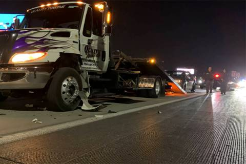 Nevada Highway Patrol investigates a fatal hit-and-run on Tuesday, March 9, 2021, on the 215 Be ...