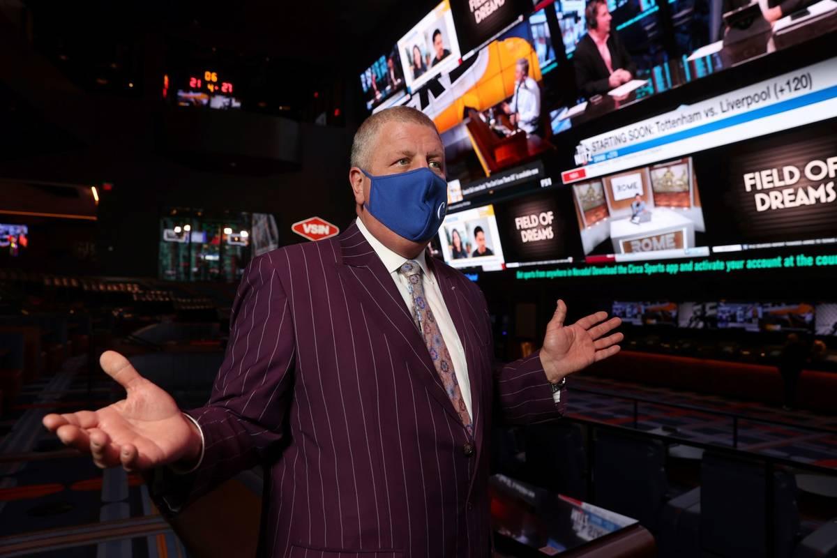 Circa owner Derek Stevens talks to a reporter in the sportsbook in Las Vegas Thursday, Jan. 28, ...