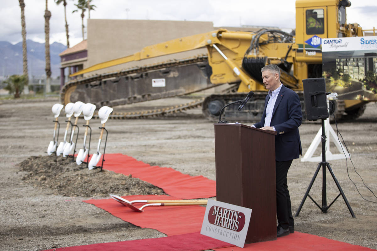 Silverstein Properties CEO Marty Burger speaks during the groundbreaking ceremony for the Apex ...