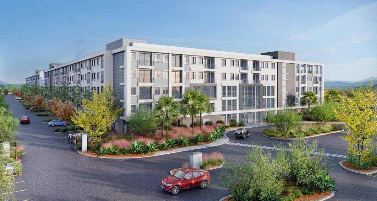 Developers plan to build a 334-unit apartment complex, a rendering of which is seen here, next ...