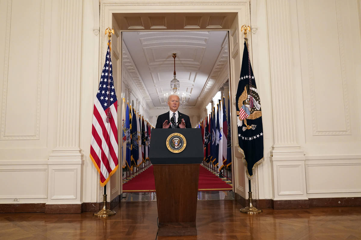 President Joe Biden speaks about the COVID-19 pandemic during a prime-time address from the Eas ...