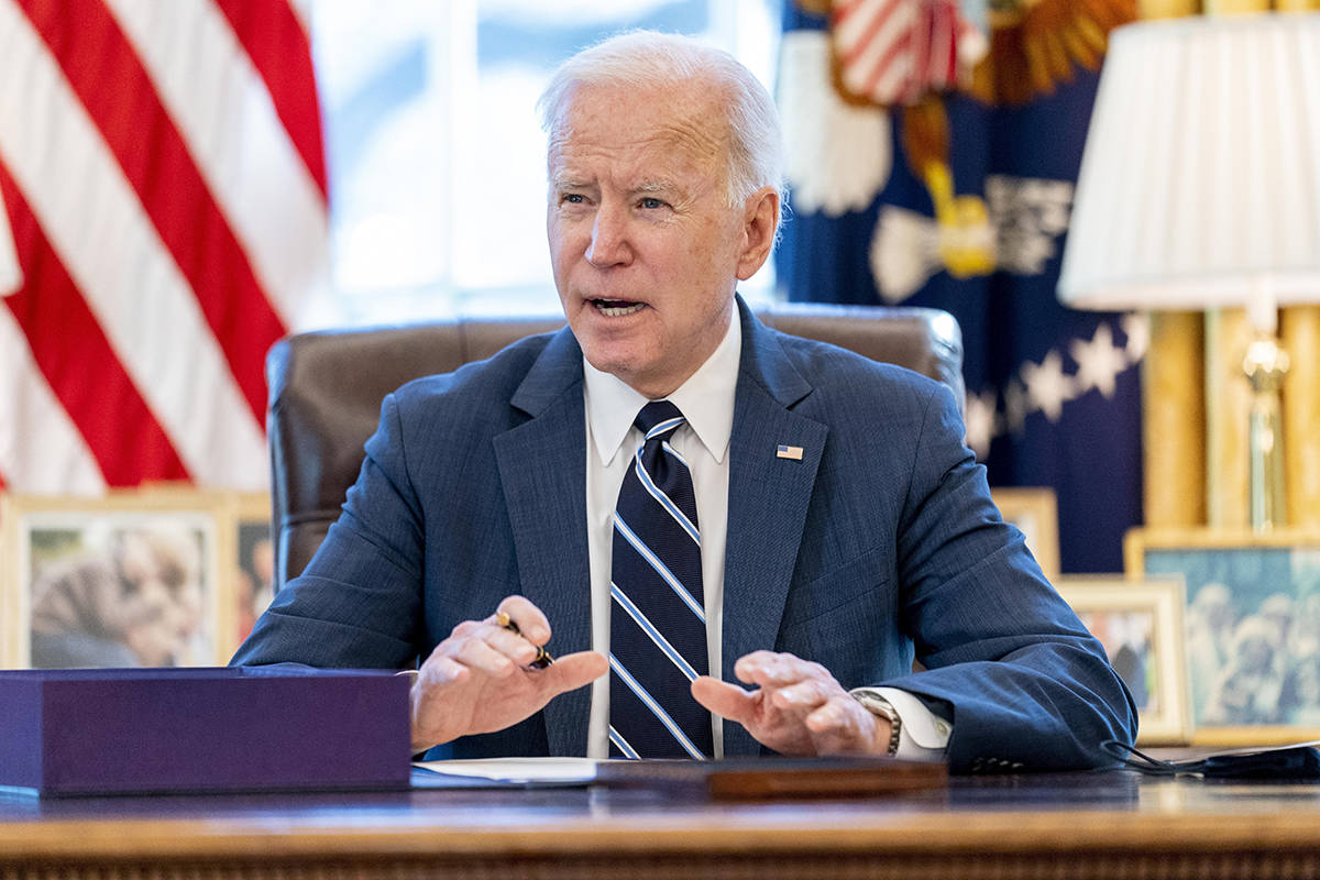 President Joe Biden speaks before signing the American Rescue Plan, a coronavirus relief packag ...