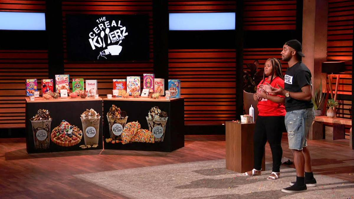 """Chris and Jessica Burns on """"Shark Tank,"""" which aired in late October. (Cereal Killerz)"""