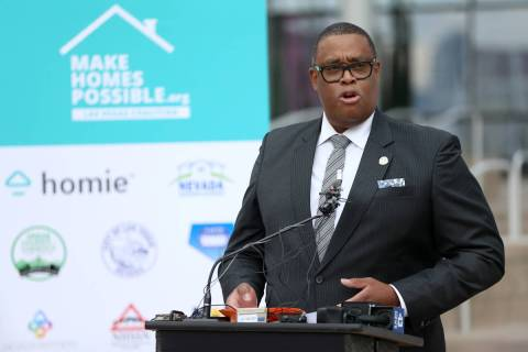 Las Vegas Councilman Cedric Crear speaks during a press conference to announce the formation of ...