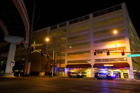 Metropolitan police investigate a homicide at the Wynn Employee Parking Garage on Tuesday, Marc ...