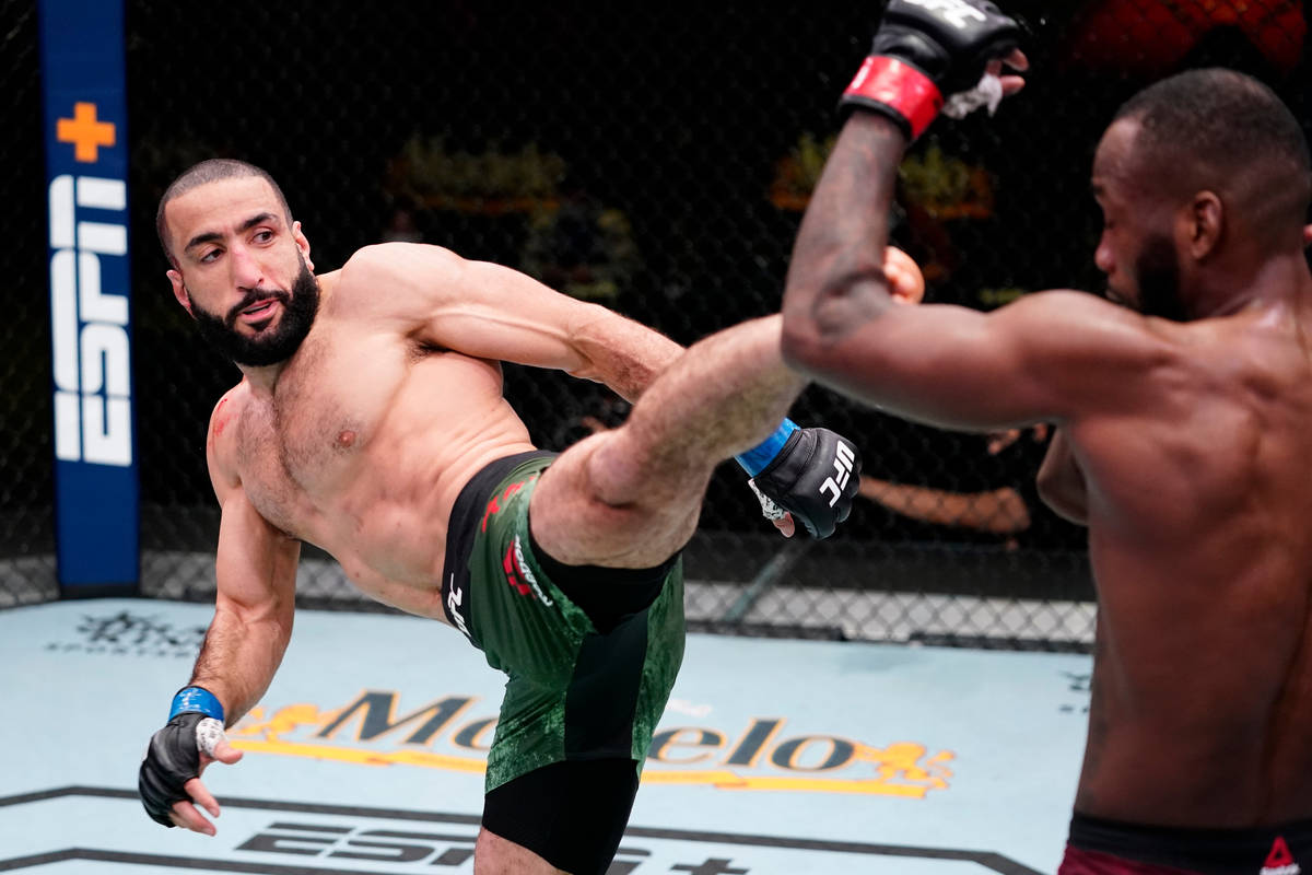 Bulal Muhammad kicks Leon Edwards of Jamaica in a welterweight fight during the UFC Fight Night ...