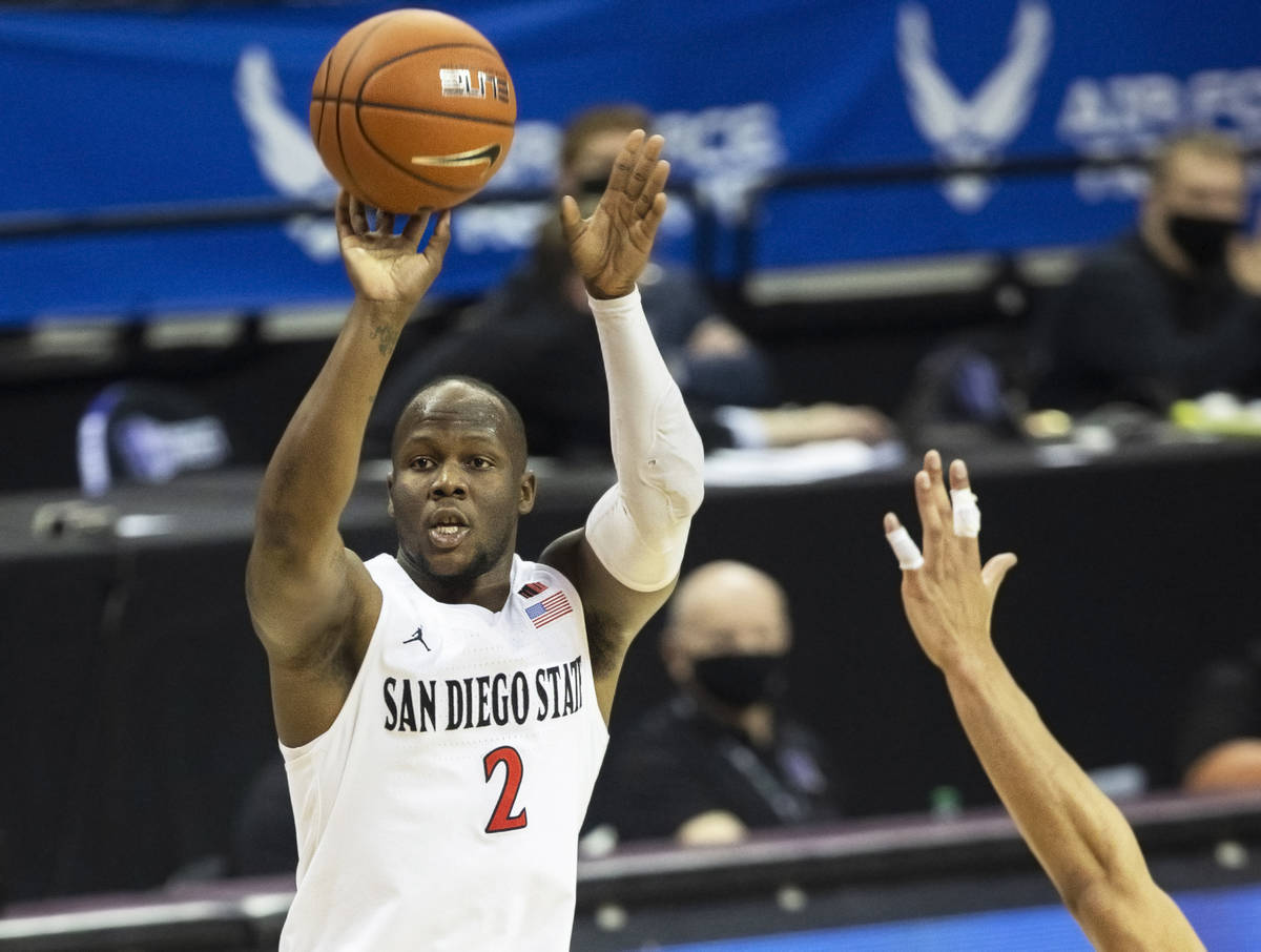 San Diego State Aztecs guard Adam Seiko (2) shoots a contested three in the second half during ...