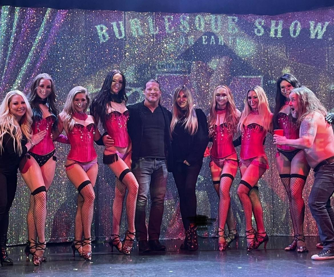 """Former WWE champ Chris Jericho is shown with the cast of """"X Burlesque,"""" joined by interloper """"R ..."""