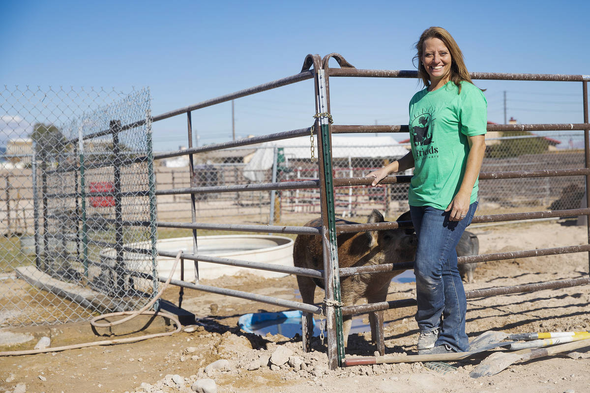 Tara Pike, founder of All Friends Animal Sanctuary, at the sanctuary behind her home in Las Veg ...