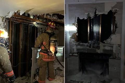 A fireplace fire spread to a wall Monday, causing $30,000 in damage to a northwest Las Vegas ho ...