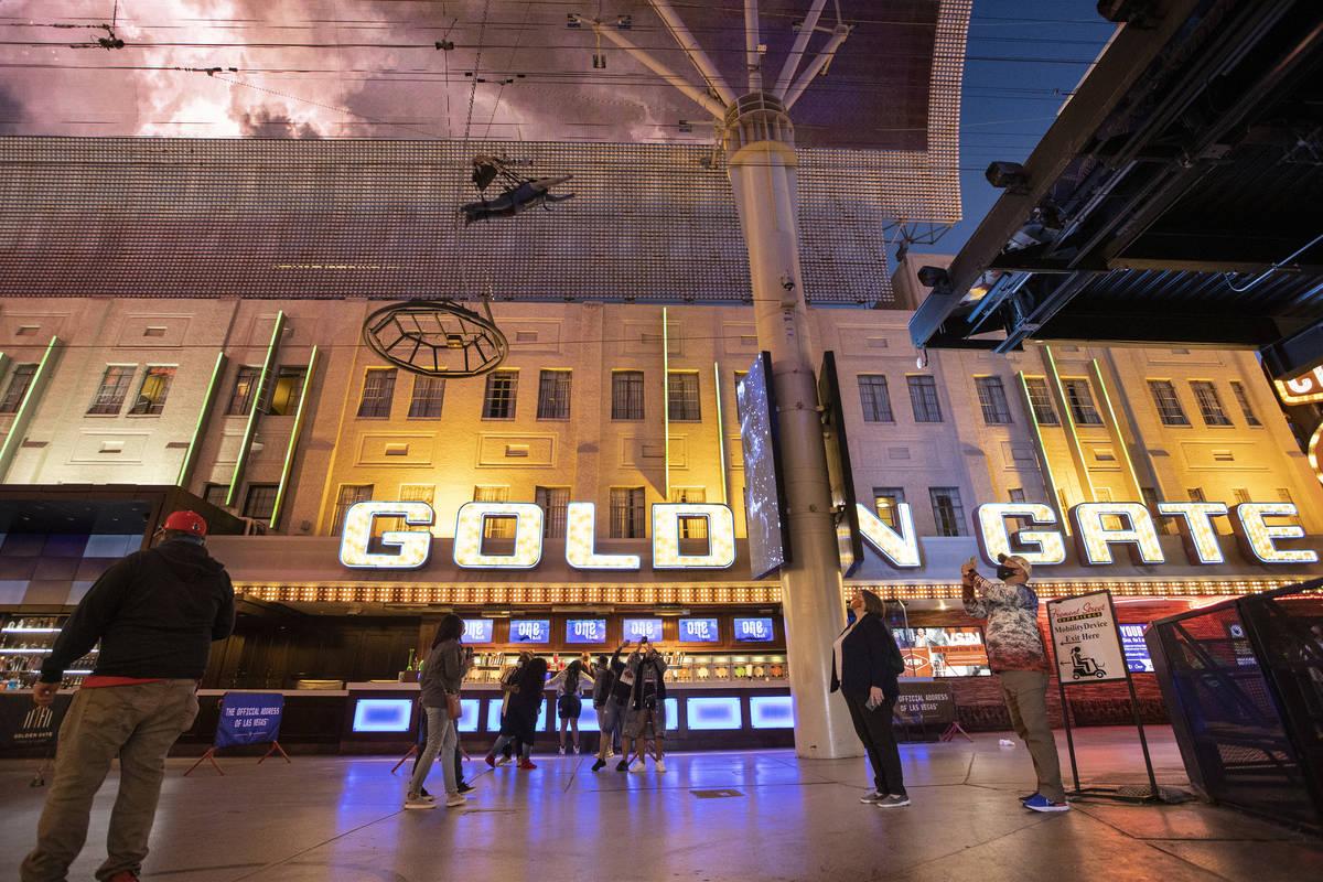 The Golden Gate hotel-casino in Las Vegas, on Tuesday, March 16, 2021. (Erik Verduzco / Las Veg ...