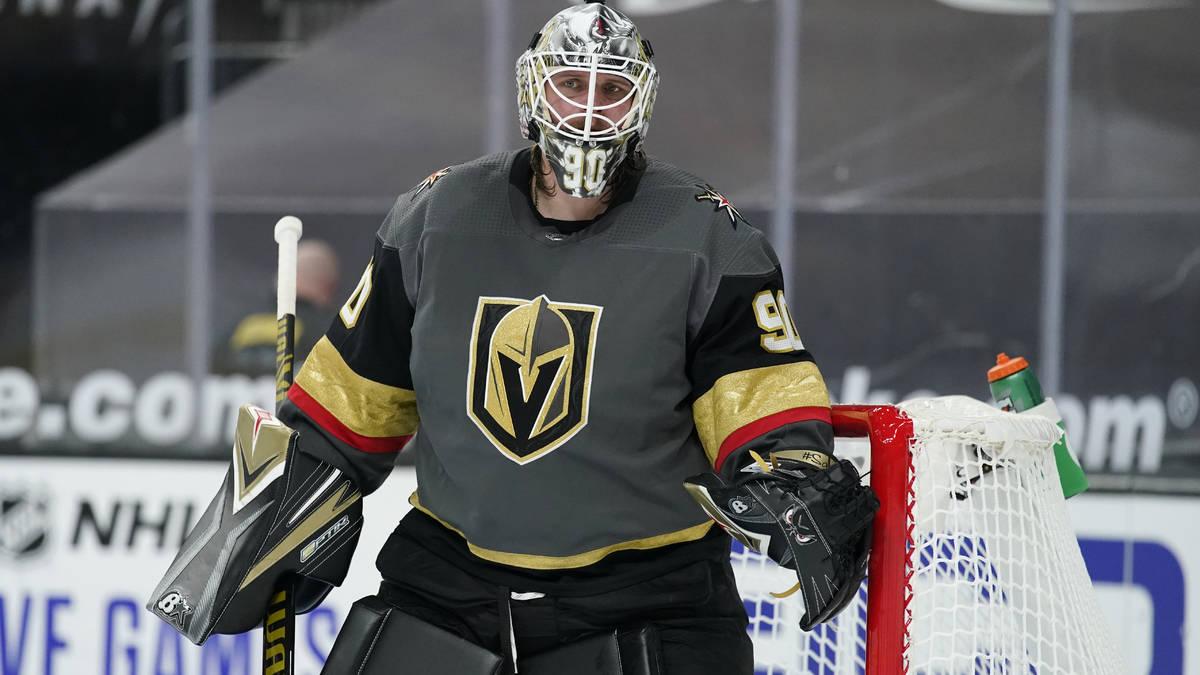 Vegas Golden Knights goaltender Robin Lehner (90) plays against the St. Louis Blues in an NHL h ...