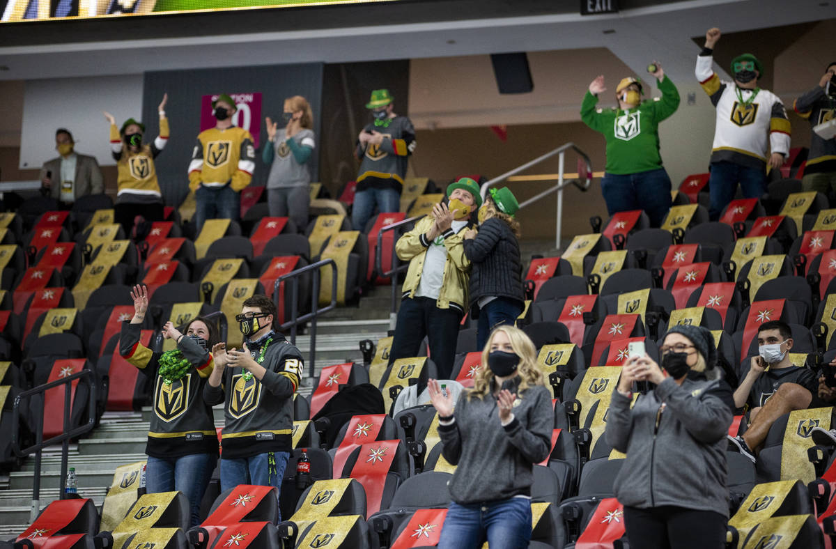 Golden Knights fans are dressed up for St. PatrickÕs Day during the warm ups before an NHL ...