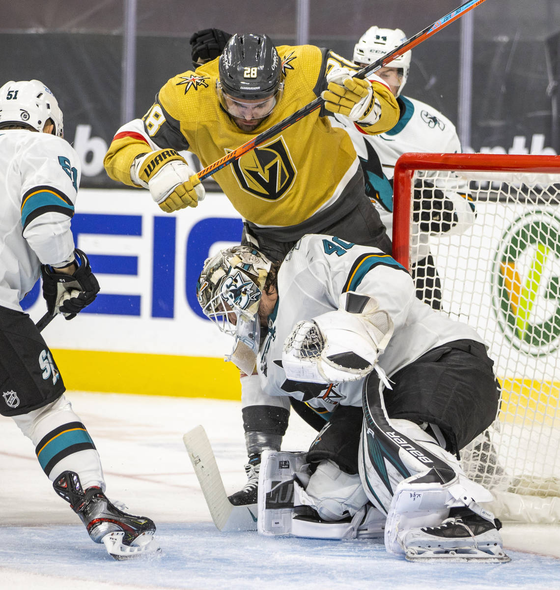 during the second period of an NHL game at T-Mobile Arena on Wednesday, March 17, 2021. (L.E. ...