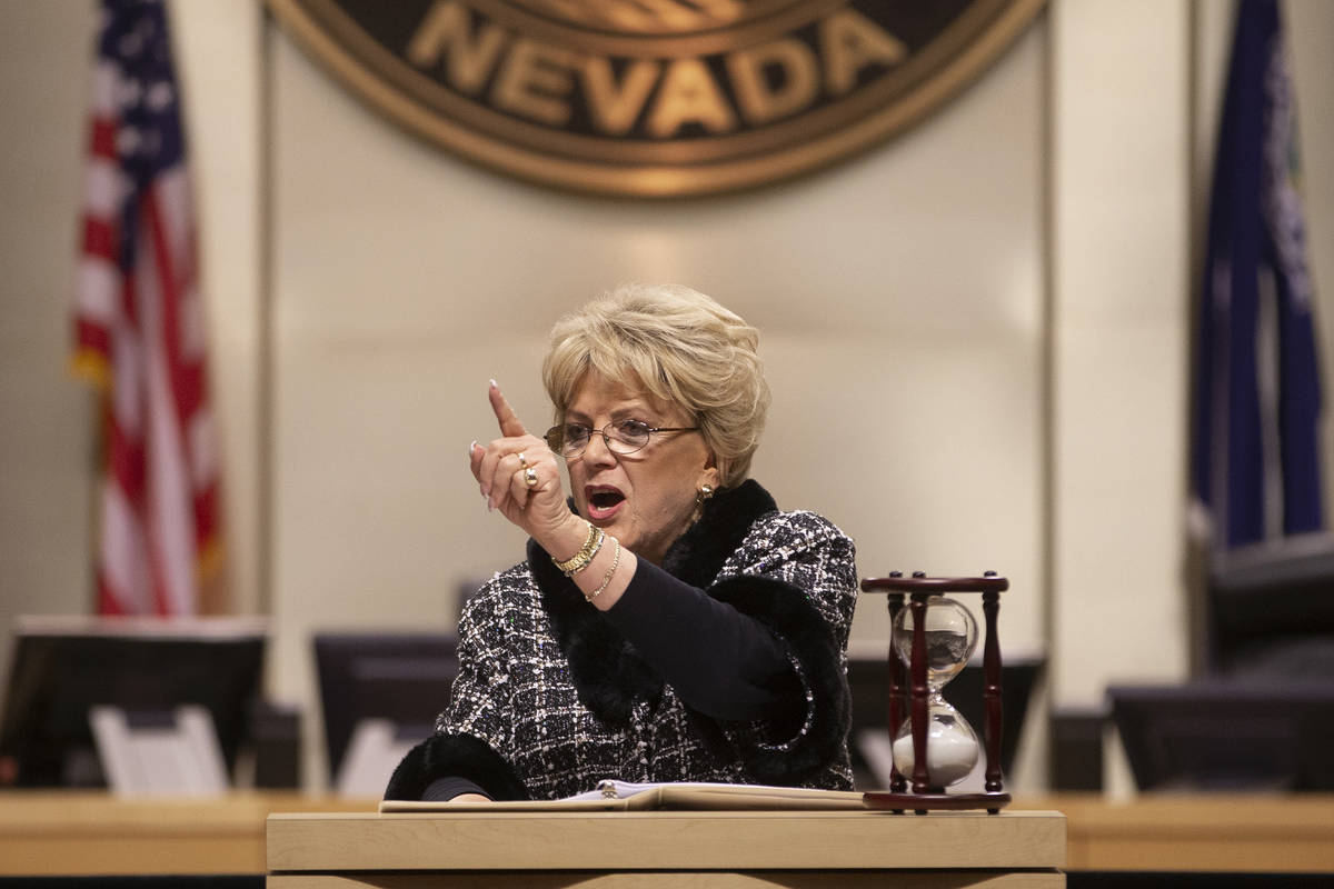 In this Jan. 9, 2020 file photo, Las Vegas Mayor Carolyn Goodman delivers the annual State of t ...