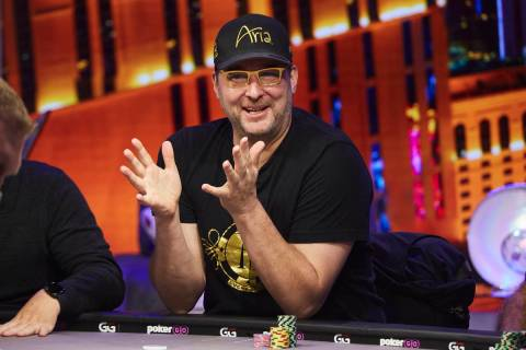 Phil Hellmuth playing poker in the PokerGO studio by the Aria. (PokerGO)