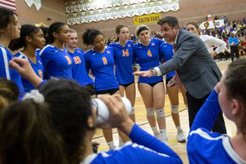 Bishop Gorman High School girls volleyball coach Gregg Nunley is shown with his team on Saturda ...