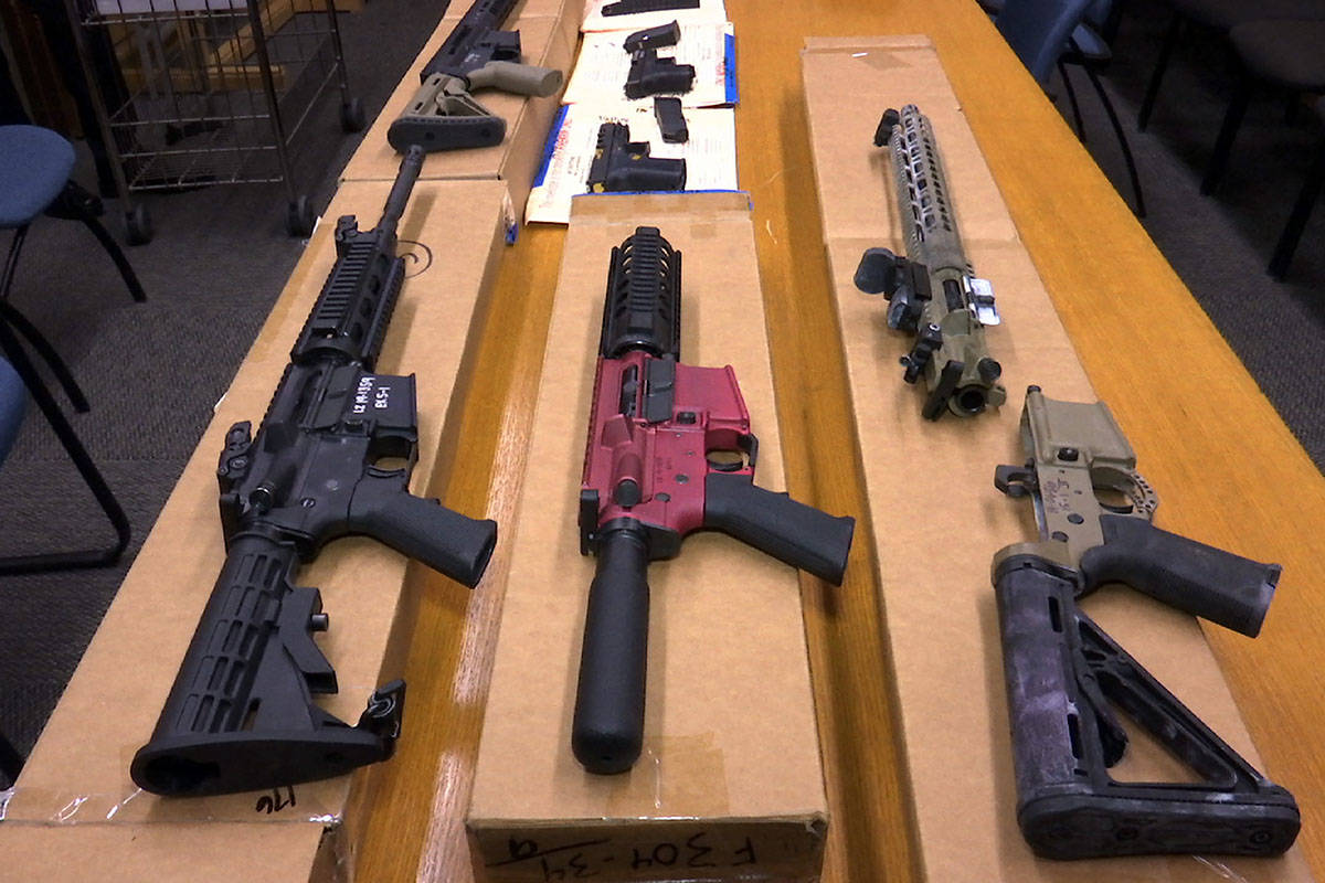 """This Nov. 27, 2019, file photo shows """"ghost guns"""" on display at the headquarters of the San Fra ..."""