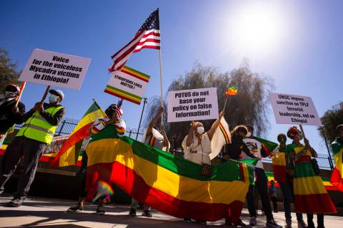 People demonstrate to highlight the humanitarian crisis in the Tigray region of Ethiopia outsid ...