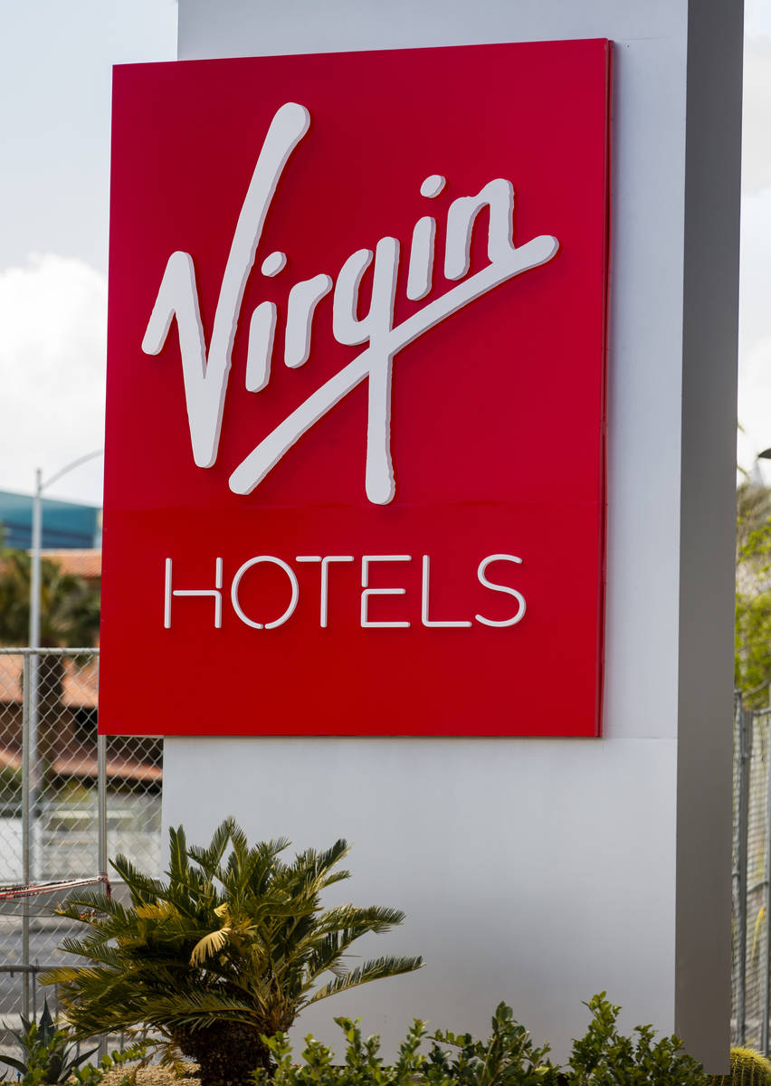 Exterior signage for the reimagined and re-conceptualized casino resort Virgin Hotels Las Vegas ...