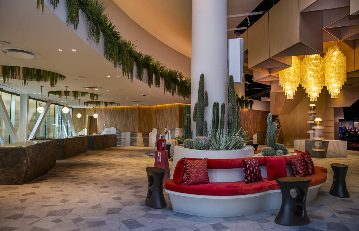 The hotel check-in area within the reimagined and re-conceptualized casino resort Virgin Hotels ...