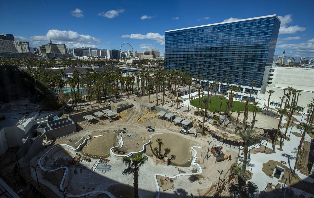 A new pool and entertainment area is still being constructed outside the reimagined and re-conc ...