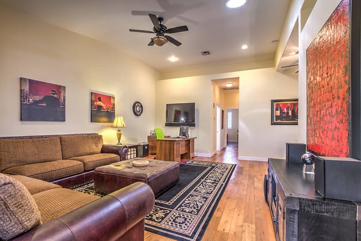 Guest house has large living room. (Mark Wiley Group)